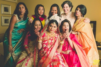 Pre wedding bride and bridemaids fun.