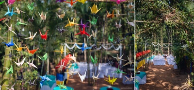Outdoor Decor with hanging colourful paper ducks