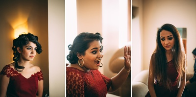 Bridesmaids dressed in maroon dresses with sheer embellished necklines