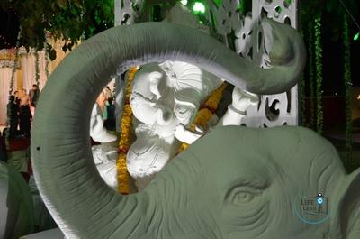 White elephant sculptures
