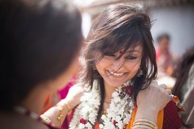 Rajniganda flower garland worn by the beautiful bride