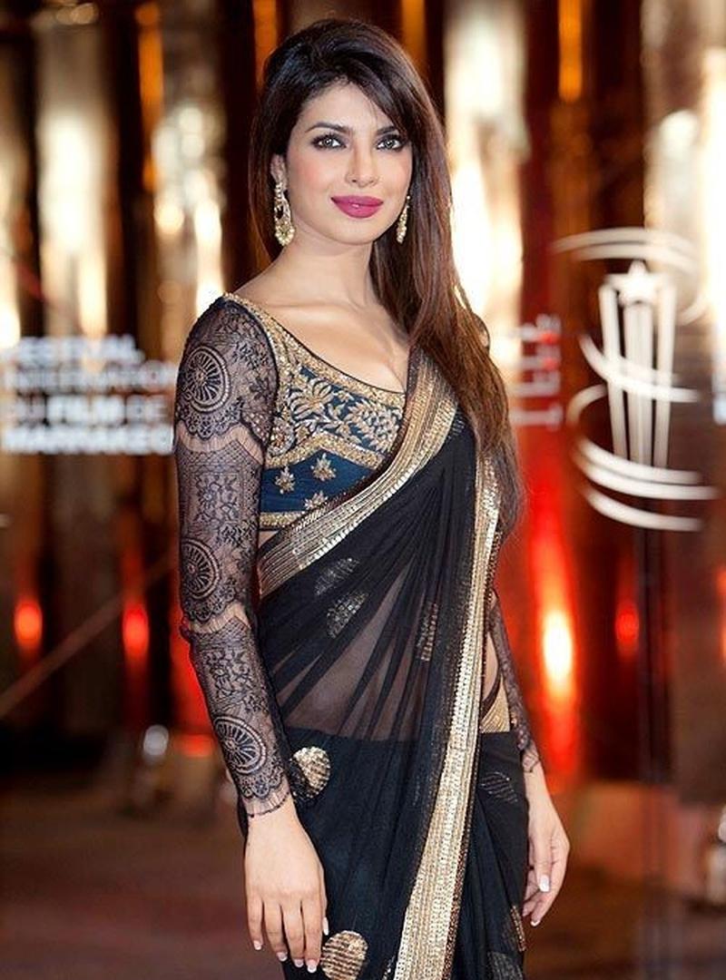 Image result for priyanka chopra in saree blouse