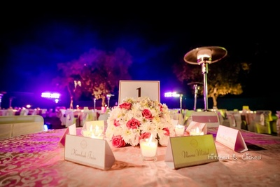 Table centerpiece and decor by F5 Weddings for the sangeet function