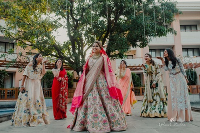 Bride posing with her girl gang