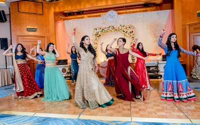 The bride and bridesmaids also had their turn on the dance floor!