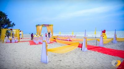 Beach facing mandap setup. Beach destination wedding decor ideas