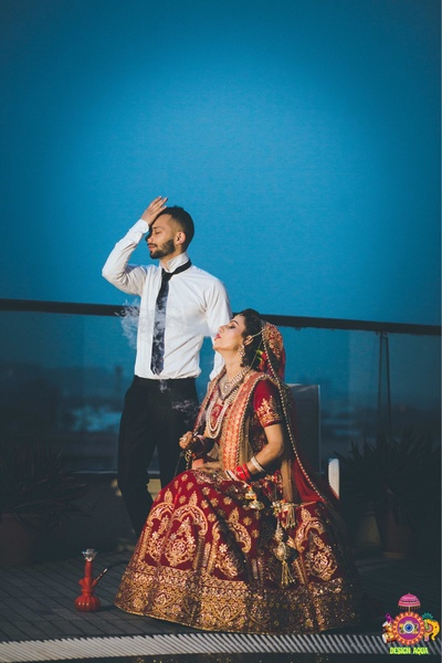 Bridal pre wedding photography with the bride and groom in quirky poses