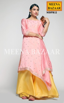 Meena Bazaar Rose Pink Mirror Work Kurti