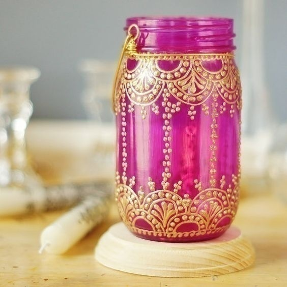 Mehndi Inspired Mason Jars and Candles