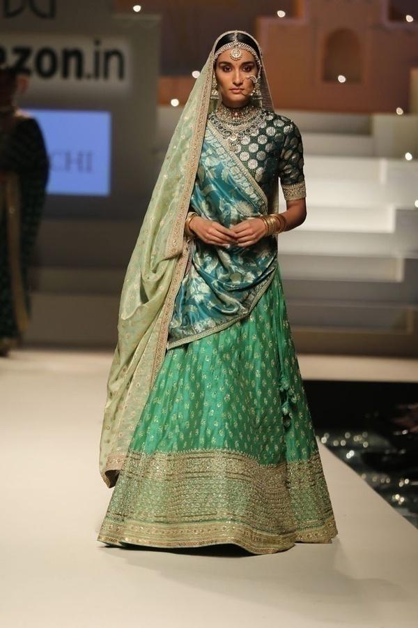 Elegantly draped bridal lehenga by Sabyasachi Mukherjee
