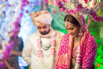 Ceremonial wedding photography of the wedding in progress