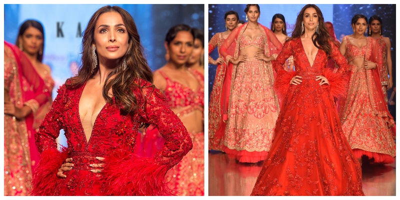 Malaika Arora set the ramp on fire in a fiery red bridal gown in Kalki's SS19 Collection 'Zinnia'!