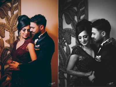 Gorgeous couple pose before the Sangeet night
