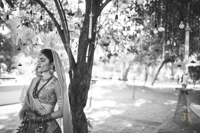 black and white capture of the bride during the bridal  photoshoot