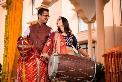 Pre wedding shoot with desi props and traditional outfits at Gold Palace Jaipur