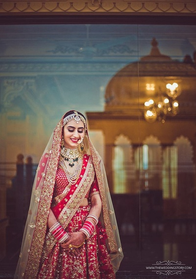 Beautiful bridal portrait in a sabyasachi lehenga