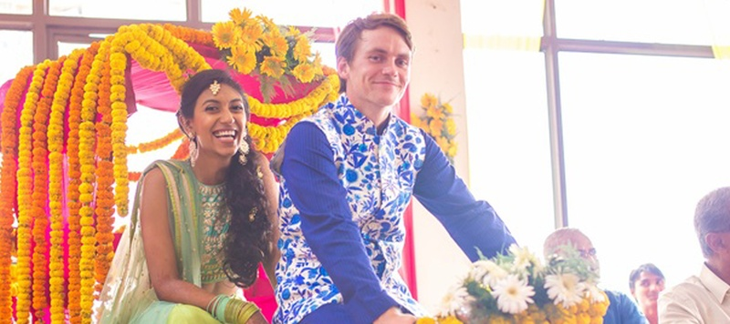David & Trisha Delhi : This wedding scene blew us away with all the colourful ambience and colourful smiles!