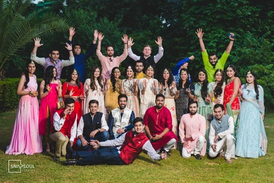 The squad posing after the mehendi ceremony!