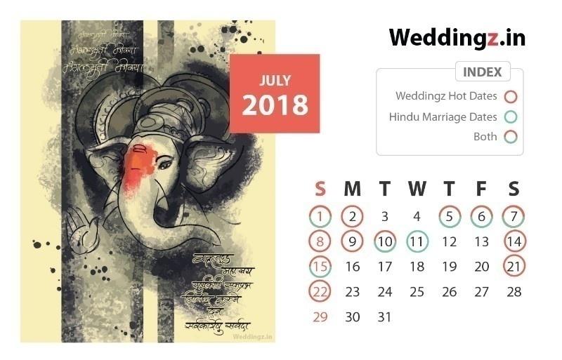 Auspicious Marriage Dates July 2018