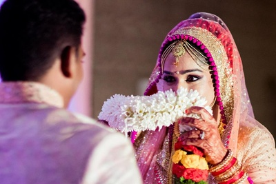 Jaymala ceremony held at Sarovar Portico, Bangalore.