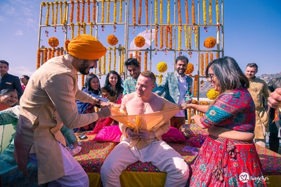 Go shirtless for the Haldi ceremony