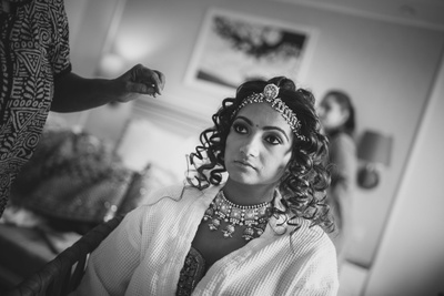 bride getting ready for the wedding ceremony