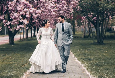Bride and groom pose together during their pre wedding photoshoot