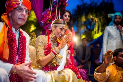 bride and groom in the wedding mandap