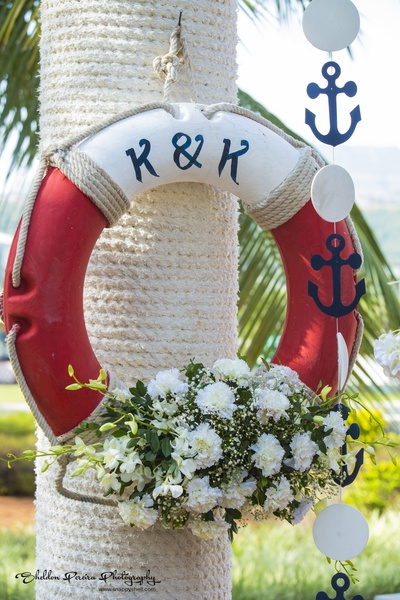 Live saver used as decor prop with the couple's initials