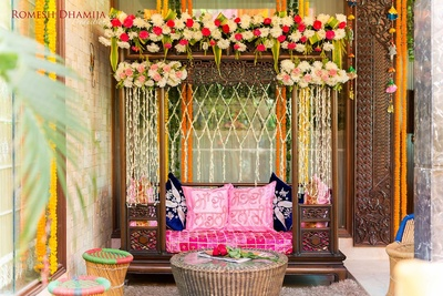 Home decorated beautifully for mehendi ceremony.