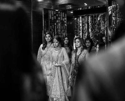 bride entering the engagement ceremony
