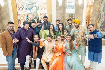 Nikita and Ayush at their ata cki chawki ceremony with their cousins and friends