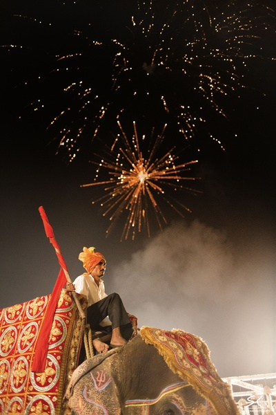 The Mahavat and bright fireworks.