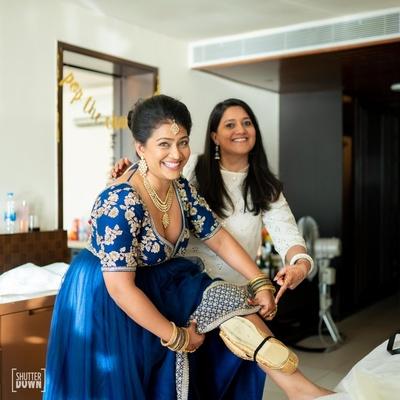 the bridesmaids having fun at the wedding