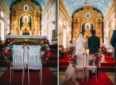 White chairs adorned with bridal bouquet and Mr & Mrs tag
