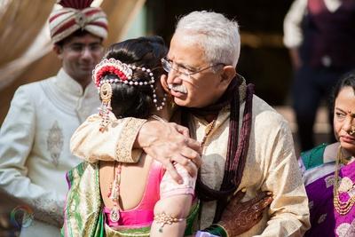 Bridal updo adorned with ambada and juda pins