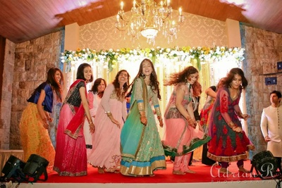 All girls dance performance at the sangeet function