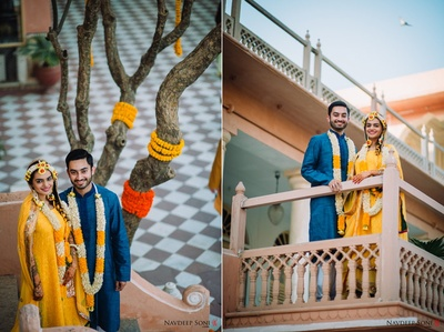 The bride and groom pose for Navdeep Soni Photography during the mehendi and haldi ceremony