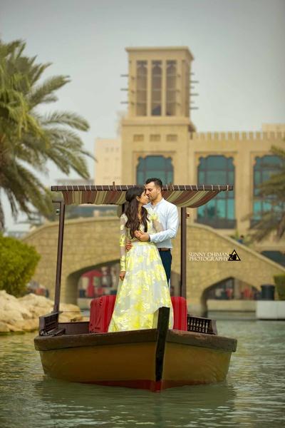 Pre wedding photoshoot on a boat in Dubai