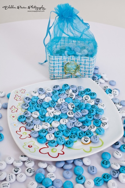 Customized M&M's in hues of blue and white