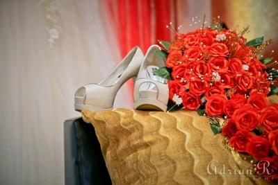 Peep toe heels for bridal gown