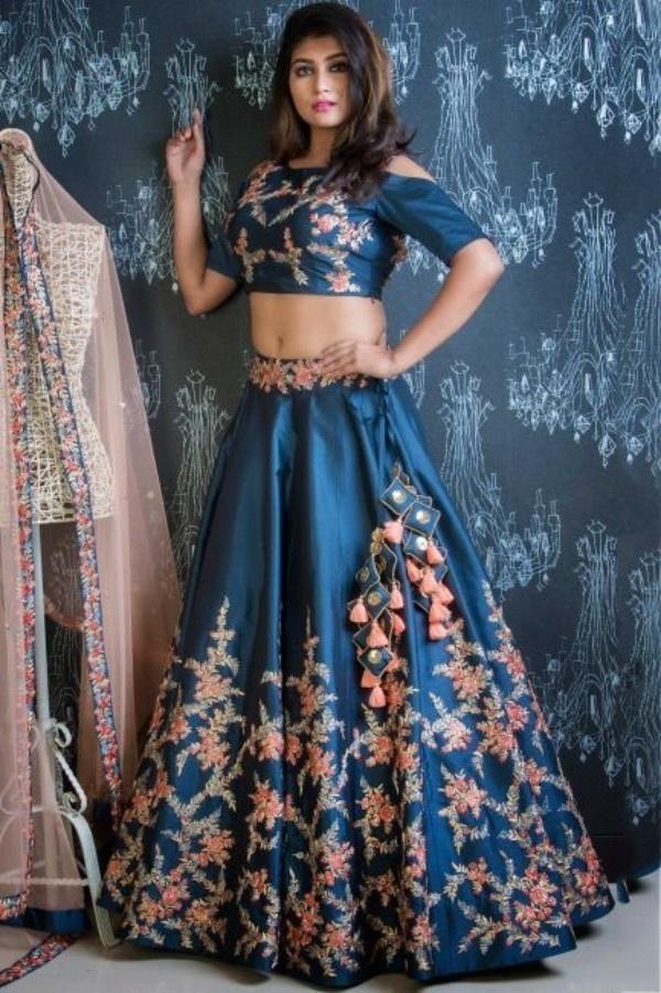 25. The Perfect Blue Bridesmaid Lehenga