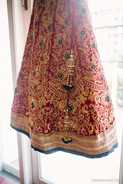 Red bridal wedding lehenga