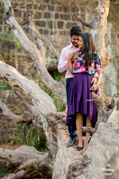 Beautiful High-low purple shirt for pre-wedding at Vasai Fort Mumbai