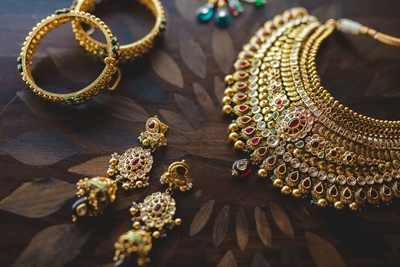Gold and Kundan bridal jewellery photography by ace photographer Anuraag Rathi.