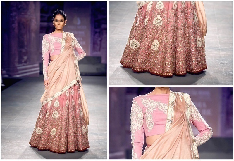 Embroidered Old Rose Silk Blouse with Lehenga