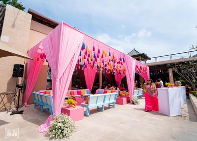 pink drapes and colourful wedding decor