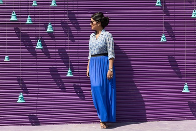 Blue and white printed shirt paired with a cobalt blue maxi skirt