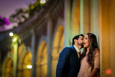 Bride and groom in a candid moment during their pre wedding shoot at ITC Grand Central, Mumbai