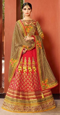 Variation Pink Art Silk Bridal Lehenga Choli